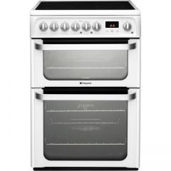 Hotpoint HUE61PS 60Cm Ceramic Electric Cooker With Double Oven In White