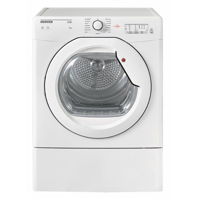Hoover HLV8LG Link with one touch, 8kg, vented, sensor, white with white glass door, C energy rated,