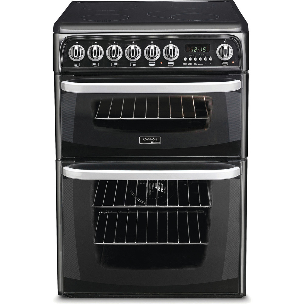 Image of Hotpoint CH60EKK 60cm Electric Double Cooker with Ceramic Hob