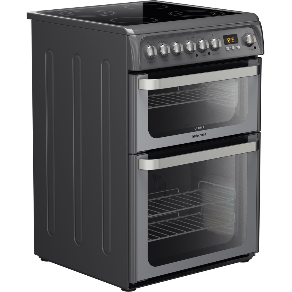 Image of Hotpoint HUE61G 60cm Electric Double Oven Cooker Ceramic Hob