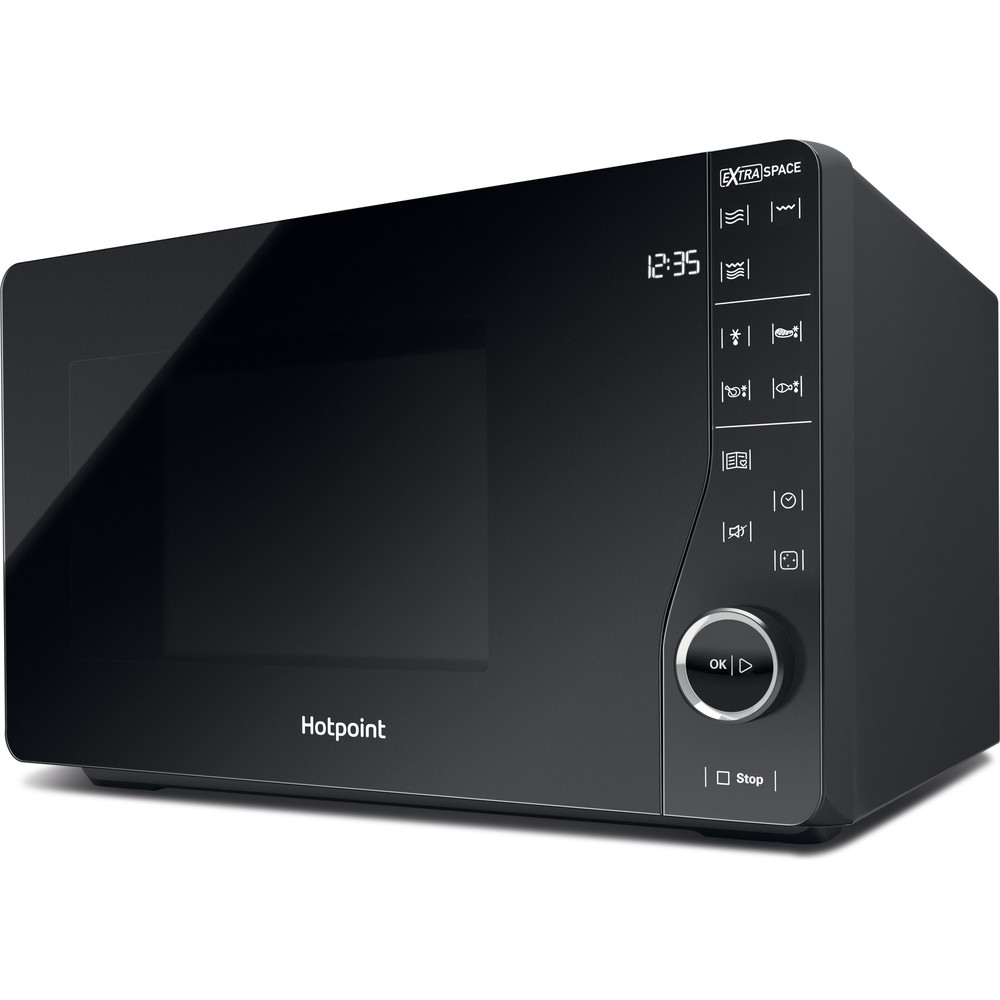 Hotpoint MWH2622MB Extra Space, Microwave with Grill, 25L, Quartz Grill, Flatbed Technology.
