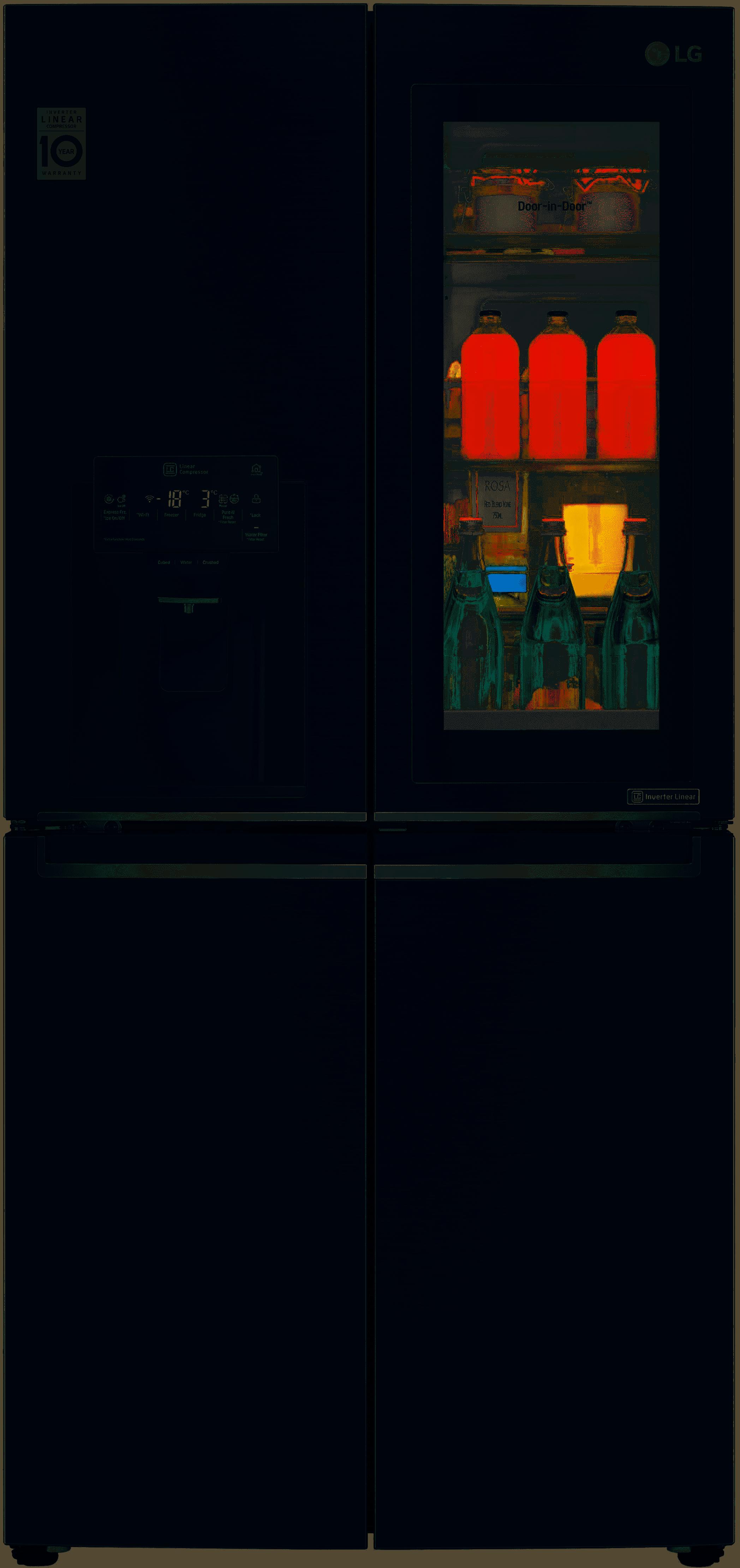 LG GMX844MCKV Slim French Door Fridge, With Instaview Door-In-Door, In Matte Black